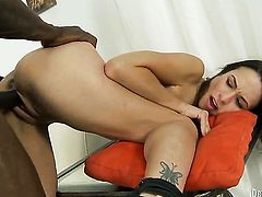 Amber Rayne is wet as the ocean in anal scene with Wesley Pipes before she gets her throat drilled