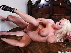 Nikita Von James with giant breasts and clean bush enjoys some passionate sex with James Deen