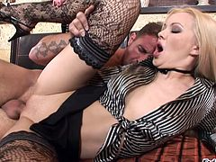 Click to watch this blonde chick, with a nice ass wearing stockings, while she gets fucked hard after she deepthroats this guy's big rocket.