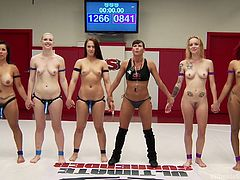 Are you fond of taught lesbians? Get prepared because when the naked milfs step on the wrestling arena, they can become really wild. Daisy is clearly leading her blonde partner, Jeze Belle. There are so many hot contestants with crazy tattoos. See a couple fighting. The loser gets fucked! Enjoy!