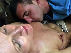 She's a mature lady with a lot of love to give, but love is not the only thing she has. Lady Carla has a itching pussy between her thighs and she's anxious to give it to the first young male that has what it takes. This guy is good enough and the way he licked her tits made her give him a taste of pussy