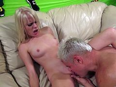 Check out this amazing hardcore scene where the slutty blonde Elaina Raye is eaten out by this guy before being fucked silly.