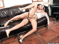 Claudia Rossi gets impaled on sausage by horny man
