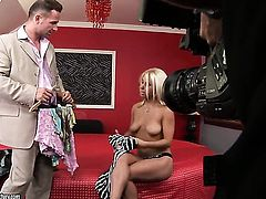 Blonde honey Nikky Thorne takes love wand up her twat