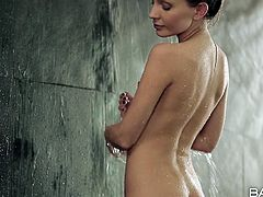 This russian babe gets up and heads to the shower to freshen up for the day. Her husband follows her in there, and soon they get intimate. They lovingly kiss, then she gets on her knees to sucks his cock. Now he takes her from behind.