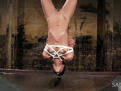 A helpless slave has been strongly tied up and left hanging upside down from the ceiling above a water container. Click to see the bonded slutty babe with small tits whipped hardly on her pussy by an angry executor. Watch her sink for a while with her head in the water. Enjoy the kinky details!