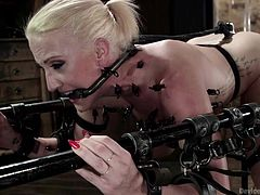 She's pretty and has a fragile body that makes the executor anxious to ravish her! Dylan finds herself in a very uncomfortable situation as she was tied and secured in this bondage device and a metal hook has been inserted in her ass. Now the executor makes it worse for her and fucks her pussy with a dildo!