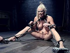 The sexy slave has her legs spread apart with poles that are attached to the collars on her neck. She is gagged so she can yell for help. The master takes a electric prod and shocks her face and pussy with it.