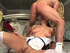 Have fun with this hardcore scene where this beautiful babe is fucked silly by two guys in a hot threesome that leaves her covered by cum.