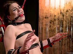 Juliette is bent over in a bondage device as her master plays with her nipples. Her nipples are clamped tightly. Then she is put in a red torture chair and gagged, her legs are spread so that her pussy can be accessed by the master.
