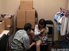 Horny Japanese maiden in miniskirts gets cozy with her guy and start kissing before enjoying her juicy pussy being licked