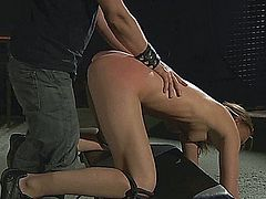 Skinny blonde slave girl used as sex toy in bdsm by her master.Tied up in ropes and in chains, she is whipped till tears. Master spanks her skinny ass and excites her with crotch rope then fucks her doggie while pulling her hair.She sucks more until he cums in her mouth