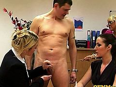 Tough FEMDOM CFNM matures wanking guy and punish him hard