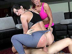 Nasty cfnm femdom Kendra Lust fucks perv spying on her sexy pal Ariella Ferrera