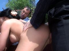 Aletta Ocean - Hardcore threesome in the garden for the hot and gorgeous.