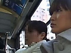 Publicsex asian getting her pussy fingered while on the bus