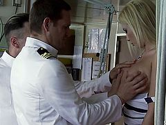 Donna Bell in double penetration with captains.