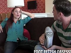 At first, I just wanted Lance to leave me alone. But after a little sweet talking I figured what the hell. Don't you just love the way he licks up and down my foot? This beautiful redhead loves when guys rub her amazing feet. She enjoys the admiration and likes the feel of your tongue on her slopes.