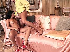 Pretty and glamorous Latina, Izabella De Cruz, gets down for some hot action on a silk sheeted couch in this hot oral sex, giving her man a blowjobs while she plays with her tight pussy.