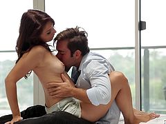 She loves being pushed up against the wall so he can passionately kiss her. The couple embraces each other on the bed, and he kisses her some more. He licks her body all over including her tits and thighs. She is in heaven as her cunt is eaten out.