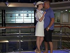 Mick blue is a passenger on a ship and needs service but the reception is unattended. Luckily Tarra White walks by looking stunning in her white uniform with stockings and helps him. She asks him if he is in a hurry and seduces him in to a sex play where mick licks tarra's ass and cunt and after a good blowjob mick's dick is big enough for some good fucking. he fucks tarra in both pussy and asshole and in the end he produces a big cumshot and shoots his sperm in tarra's mouth which she eagerly swallows.
