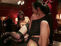 Allow yourself to get surprised in a nice way by the sense of reality which describes the following kinky sex scenes. Two milfs are sucking cock passionately. The blonde with big tits is screaming of pleasure combined with pain when her tits are whipped and her pussy stimulated with a vibrator. Watch!