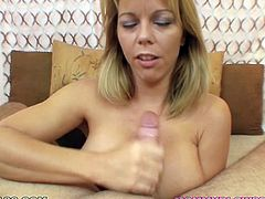 Classy blonde MILF with big boobs Amber Lynn Bach blows huge dick