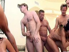 Keeani Lei and Eva Angelina was joined by a few of their hot men in a hot group sex orgy fucking their shaved pussies hardcore doggystyle.