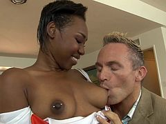 Bootyful ebony chick has mutual oral sex with white bastard and gets her tight cunt doggyfucked. Thereafter she rides cock in a reverse cowgirl pose and gets rammed mish.