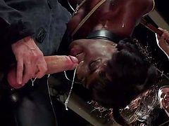 This ebony slut is hanged upside down with a thick collar around her neck. One of the dungeon masters uses a dildo on a pole and then a big whip to torture her. A masked gimp shoves his cock into her mouth and she slobbers all over it.