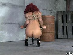 Watch as beautiful redhead ebony slut is lead to the basement with a mask on her head. When her hood is removed she see she is in a basement. She is tied in rope and made to sit on the dildo that are lined up on the concrete floor.
