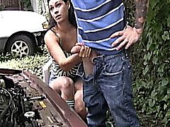 When teener Amo becoms stranded, she'll do whatever it takes to get out alive, even stoking off any big cock that comes her way. When Timmy offers help, Amo jacks off his cock in exhange, forcing the young man to spurt all over the engine block.