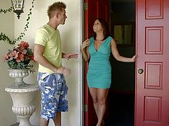Christina invites her son's friend over after school and things soon get intimate. She takes out her tits and this makes him get a boner instantly. She gets down on her knees and suck on his stiff penis.