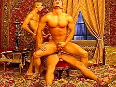 Guy is being fucked on the rug then riding bareback cock on a crazy horse before all cum hard