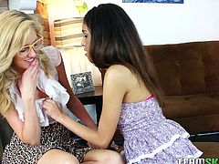 This sexy blonde walks into her step siblings room and reveals she is attracted to her. They act on their taboo feelings. They kiss passionately and before long Slema is reaching her hands into Emily's panties. The blonde slut loves to have her pussy eaten out and be fingered.