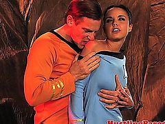 Dillion Harper drinks captain kirks cum before they get beamed up by scotty