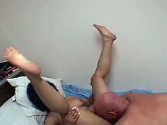 Cute  babe pleases this old man with her awesome footjob skills.