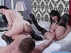 Squirter babes swapping a mouthful of cum after a hardcore threeway