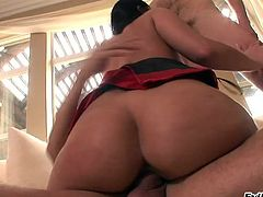Curvy cougar with fake tits enjoys her both sex hole being logged hardcore with massive dicks before getting a nasty facial cumshot in a threesome sex