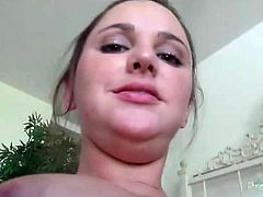 Watch her pretty teen face as he eats her out