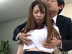 Shameless Japanese Schoolgirl with natural tits in Bra is seduced in the office her tits played with as she rubs her Pussy with vibrator then crashed Hardcore