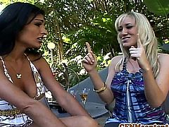 Cfnm femdoms Persia Pele and Alana Evans prefer a big cock to a little one
