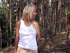 Horny Babe In Miniskirt with Natural Tits gets Cum In her Mouth after Blowjob and Ball Licking getting her Cunt Slammed In Outdoor Close Up