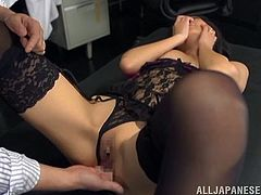 Asian chick with natural tits in nylon stocking gets cozy with her horny gentleman before enjoying her pussy being fingered in a reality shoot