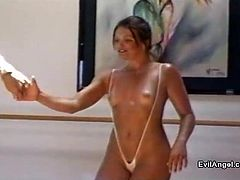 Dame with small tits in bikini gives a huge dick blowjob then moans while her pussy is being licked before getting her anal drilled hardcore