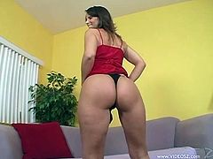 This slutty hot chick loves to take a huge cock in her mouth for a suck in a hot blowjob on the couch hardcore in orgasm.
