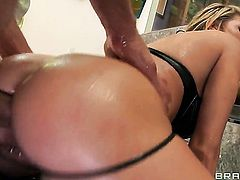 Mick Blue inserts his pole in flirty Charisma Cappellis mouth before she takes it in her ass way