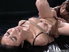 Yumi Kazama gets tied up in bondage with this porn scene. This is a hot Japanese group sex with three hot pussies and a cock.