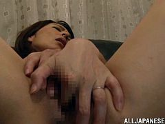 Horny Japanese Solo Model Hisae Yabe In Panties with Small Tits yells passionately Fingering her juicy cunt in Masturbation action