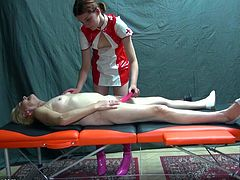 This nurse is wearing her latex outfit and taking care of this old nanny as she lies on the table. The nurse plunges the old lady's pussy to get it nice and clean. Watch as the nurse puts the vibrator in the old lady's pussy and gets her off.
